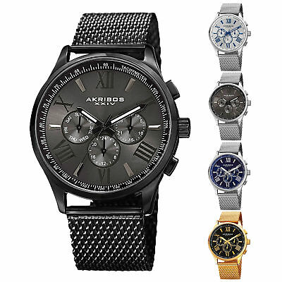 Men's Akribos XXIV AK844  Multifunction Day Date Stainless Steel Mesh Watch