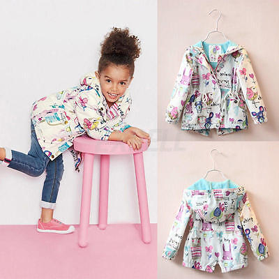 Baby Girls Cartoon Graffiti Hooded Coat Outerwear Toddler Kids Jackets Clothes