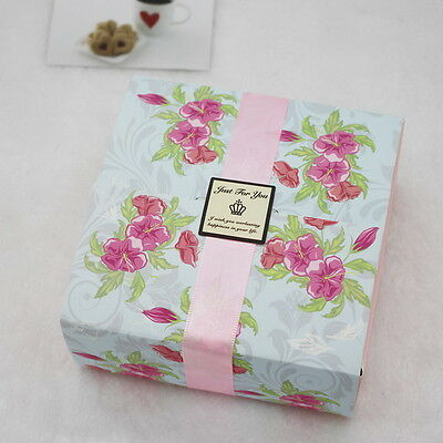 10pcs Colorful Box Wedding Party Candy Cake Gift Boxes Pink Hibiscus
