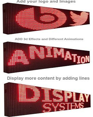"""RED COLOR LED SIGN 7"""" X 189"""" Outdoor Programmable Scrolling Text Logo Display"""