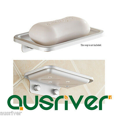 Wall Mounted Sqaure Soap Dish Holder Tray Bathroom Bath Shower Space Aluminium