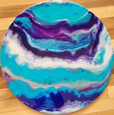Modern Original Abstract Resin Timber Painting Purple Turquoise Dee's Funky Art