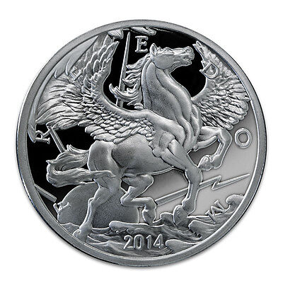2014 PROOF Pegasus Silver Coin / Round in airtite capsule LOW MINTAGE .999 FINE