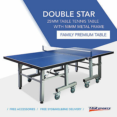 25Mm Pro Size 50Mm Leg Double Star Ping Pong Table Tennis Table + Free Gift Pack