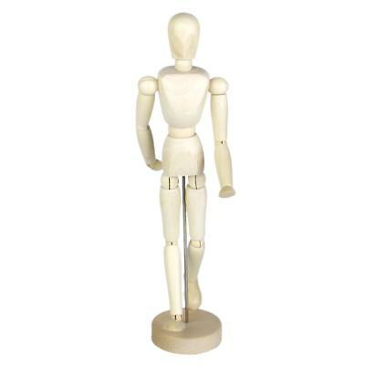 Wooden Human Body Model Movable Figure Articulated Jointed Stand 11.81 inch