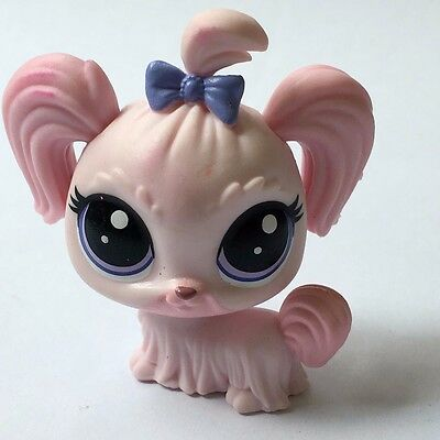 Original Hasbro Littlest Pet Shop LPS Cute Cat Dog with Bow Animal Figure Toy