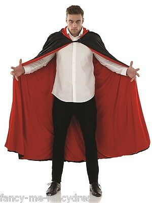 Mens Long Black Hooded Velvet Vampire Halloween Cape Cloak Fancy Dress Costume