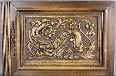 Antique Carved wood Panel 19th Dragon Griffin Gargoyle Right Half of a Pair  D