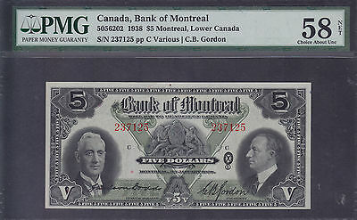 1938 Bank of Montreal $5 - Chartered Banknote