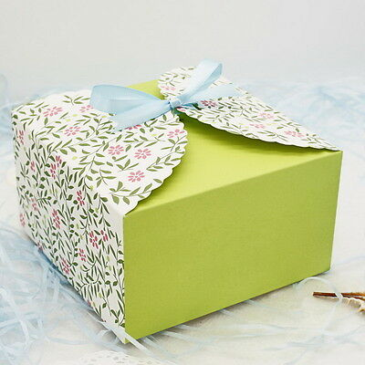 10pcs Colorful Box Wedding Party Candy Cake Gift Boxes Green Leaves