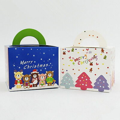 10pcs Colorful Box Wedding Party Candy Cake Gift Boxes Christmas Pattern