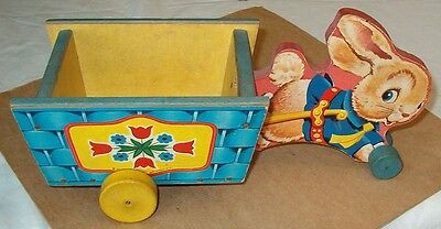 >>> Vintage 1957 Running Bunny Cart Easter Pull Toy <<<