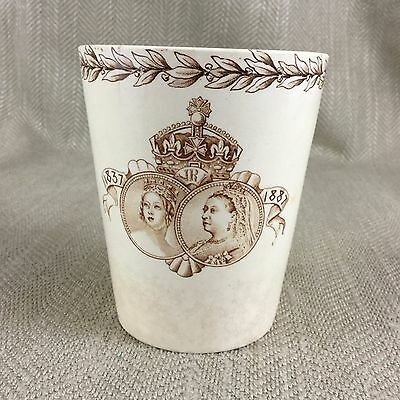 Doulton Burslem Creamware Commemorative 1887 Beaker Queen Victoria Young & Old