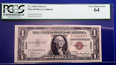 $1 1935A Hawaii Silver Certificate Fr-2300 PCGS64 Choice Uncirculated