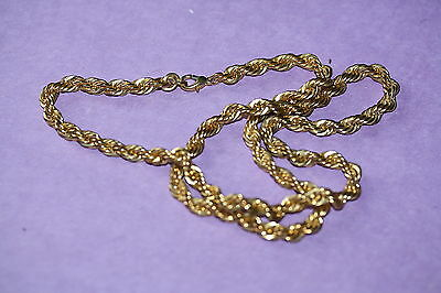 Twisted Rope 12-Inch Necklace in Gold Tone