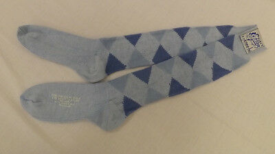 Vtg Baby Blue ARGYLE KNEE SOCKS 9-11 NOS  Orlon Acrylic Blend Mod/Retro 70s