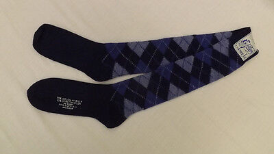 Vtg Navy Blue ARGYLE KNEE SOCKS 9-11 NOS  Orlon Acrylic Blend NOS Mod/Retro 70s
