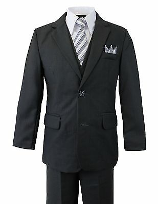 Boys Suit Gray Charcoal 2 Button 5 Pieces Set w/ tie shirt vest pants  2T to 14