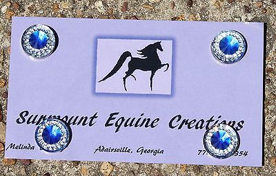 Horse Show Number Magnets - Blue Rhinestone - Saddleseat, Hunt Seat, Western