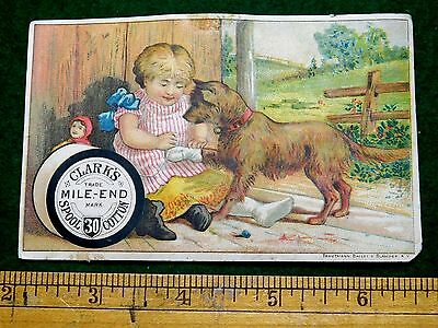 1870s-80s Clark's Mile-End Spool Cotton, Girl Bandages Dogs Paw Trade Card F11