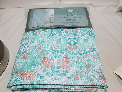 New Indigo Rose LACEY Fabric Shower Curtain 72X72 Coral Green Medallion