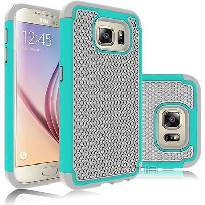 Samsung Galaxy S6 Rugged Rubber Dual Layer Impact Hybrid Hard Case - Teal / Gray
