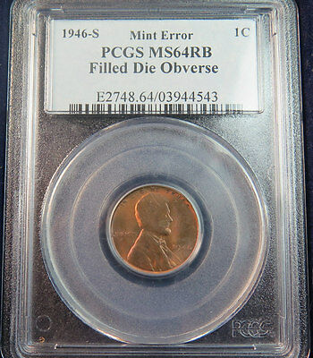 1946 s Lincoln cent PCGS MS64RB *mint error-- grease filled die* JS