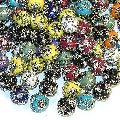 IB218 Assorted Color 14mm Round Embellished Indonesia-Style Focal Beads 10/pkg