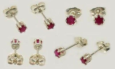 2 Antique 19thC Ruby Ancient Celtic Magic Amulet Sterling Silver Studs