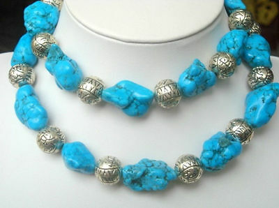 """35"""" New Silver Natural Turquoise Necklace Classic"""