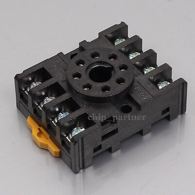 PF-083A 8Pin Din Rail Mounted Timer Relay Base Socket For DH48S MK2P-I AH3-3