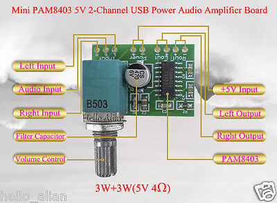 PAM8403 5V 3W+3W 2 Channel Mini Audio Digital Amplifier Board with Potentiometer
