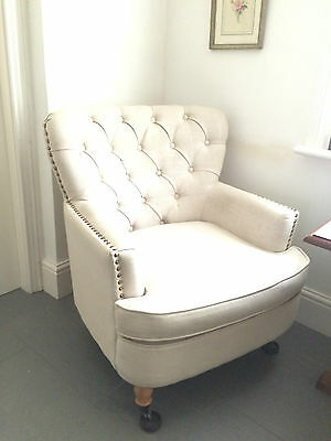 Cream/natural linen ARMCHAIR chair with button back/studded arms~S.Derbyshire A