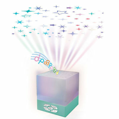 Teal Baby/Kids Ceiling Projector Star Glow Cube/Musical Lullaby/Sleep Light Lamp