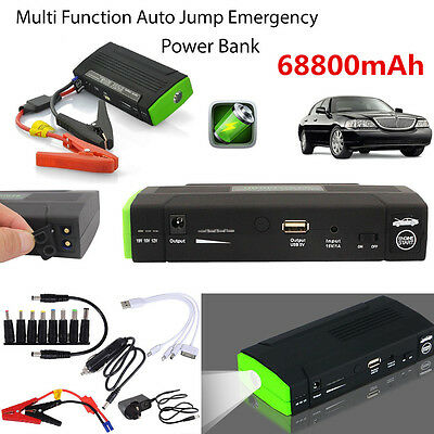 68800mAh Portable Power Bank 12V Car Jump Starter Pack Booster Charger Battery