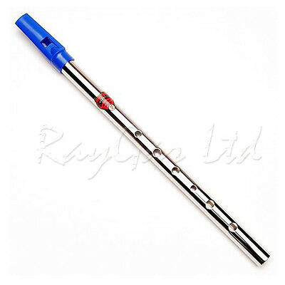 Generation D Tin Whistle Nickel Blue Top Flageolet Penny Whistle - New
