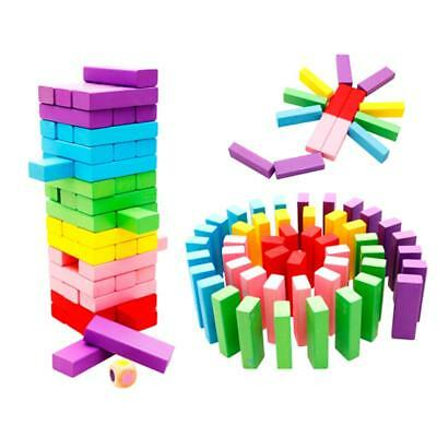 Childrens Tumbling Tower Wooden Block Building Fun Game 48 Piece Xmas Gift