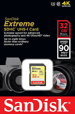 SanDisk Extreme 32GB SD SDHC Memory Card U3 UHS-I 90MB/s Ultra HD VIDEO 4K 32G