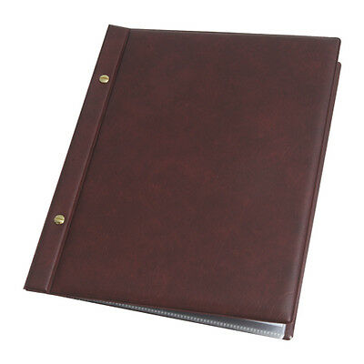 Burgundy menu covers with 10 pockets