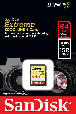 SanDisk Extreme 64GB SD SDXC Memory Card U3 UHS-I 150MB/s Ultra HD VIDEO 4K 64G