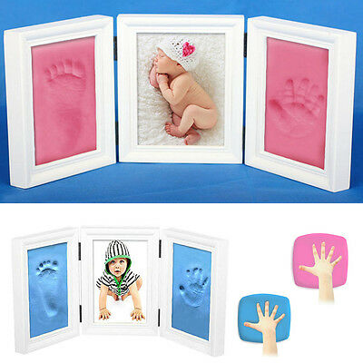 Newborn Baby Hand Footprints Picture Photo Frames Safety Touch Clay Keepsake Kit