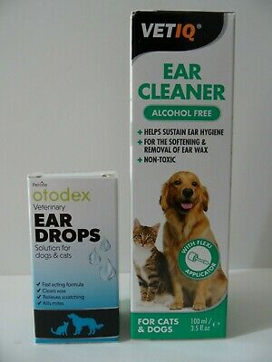 Vet IQ Ear Cleaner for Cats and Dogs, 100ML+ Otodex Veterinary Ear Drops 14 ml