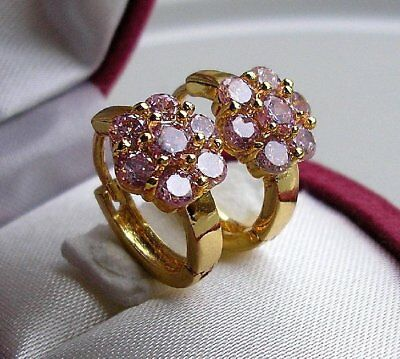 GENUINE 9ct Gold Hoop Earrings gf STUNNING PINK TOPAZ ALMOST SOLD OUT! ref 095
