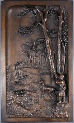 Antique Carved wood Panel Hunting Scene 19th