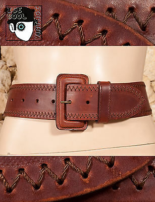 "80s/90s THICK WIDE LEATHER BELT - 32""/80cm - (Q)"