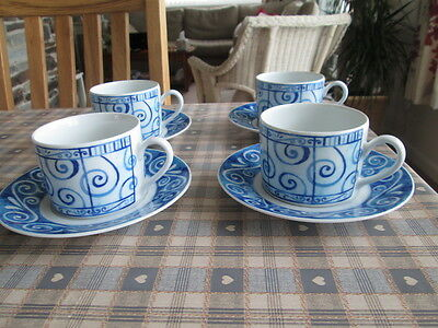 Set Of 4 Royal Worcester Oceana Tea Cups And Saucers