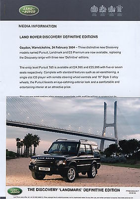Land Rover Discovery 'Landmark' Definitive Edition Press Release/Photo  - 2004