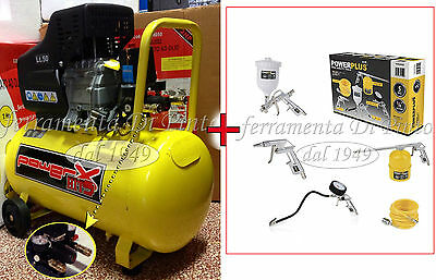 Compressore 50 Lt + Kit 5 Accessoss Olio Italy 8 Bar 2 Hp 2 Manometr 2 Connettor