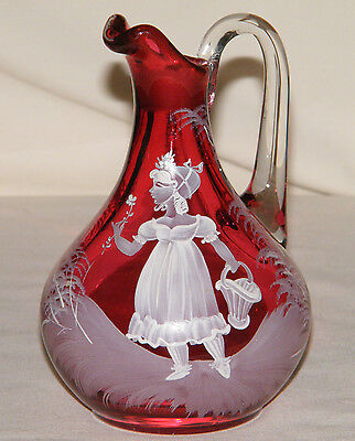 RARE Mary Gregory WHITE on WHITE Solid CRANBERRY Glass Cruet~Flower Basket Girl