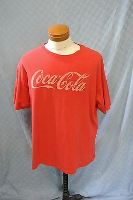 "Vintage Coca Cola T Shirt Red Original Design Large Chest 48"" Size tag Faded"